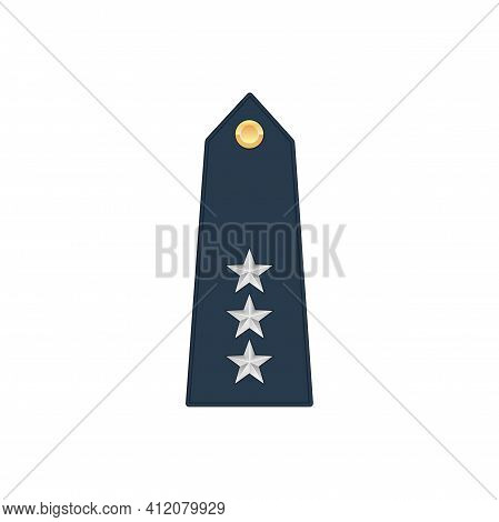 Lieutenant General Rank Insignia Isolated Stripe Icon. Vector Insignia With Three Stars, Military Em