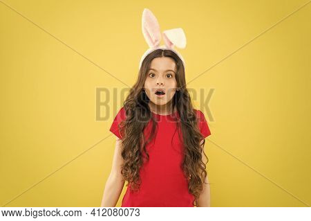 Are You Ready To Celebrate. Kid On Easter Egg Hunt. Teen Kid In Rabbit Costume Having Fun. Happy Eas