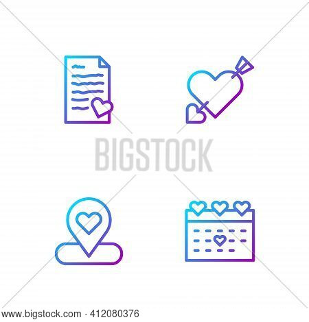 Set Line Calendar With Heart, Location, Envelope Valentine And Amour And Arrow. Gradient Color Icons