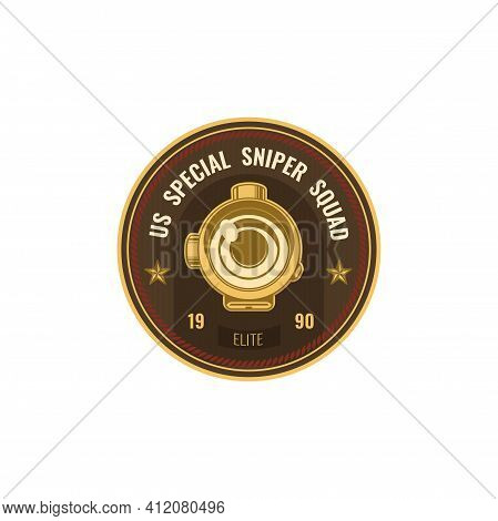 Special Snipers Squad Isolated Military American Soldier Chevron Icon. Vector Insignia, Us Army Patc