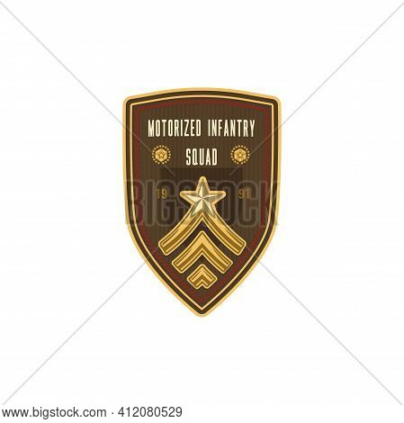 Squad Of Motorized Infantry Transported By Trucks Or Motor Vehicles, Star And Sergant Rank Sign. Vec