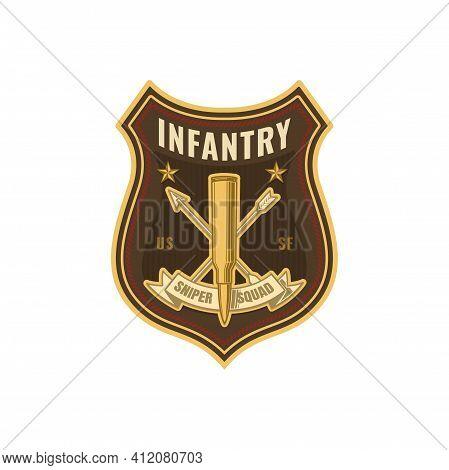 Us Military Chevron, Special Sniper Squad Isolated Shield Badge. Vector American Soldier Insignia, U