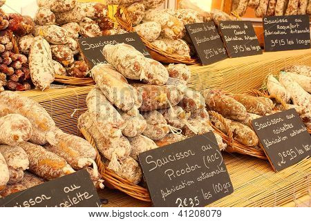 Artisan Sausage For Sale In The Market, Provence, France.