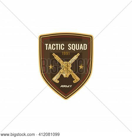 Special Snipers Squad Isolated Crossed Sniper Gowns On Shield With Stars. Vector Military American S