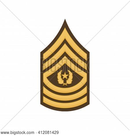 Sergeant Major Of The Army Rank Insignia Sign Isolated. Vector Sma Sergeant-major, Rank Of Non-commi