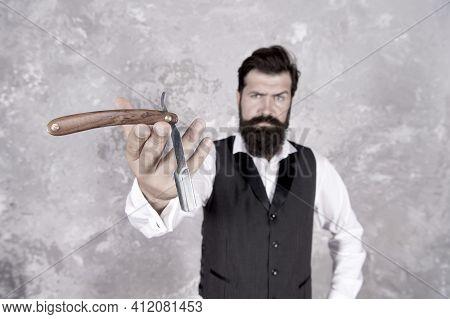 Razor Blade Selective Focus. Shaving Man Has Razor. Hair Salon For Men. Retro And Classical Fashion.