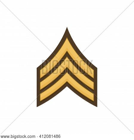 Sergeant Sgt Soldier Military Rank Insignia Icon. Vector Stripe On Uniform Usa Service Rank Chart Em