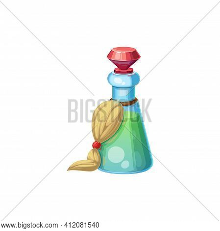 Green Wizard Potion In Flask With Red Diamond Cork Isolated Cartoon Icon. Vector Jar With Poison Dri