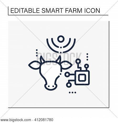 Rfid Animal Identification Line Icon. Digitalization In Agriculture. Device For Monitoring Animal He