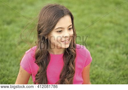 Organic Skincare That Is Safe. Beauty Look Of Skincare Model. Small Girl Relax On Green Grass. Natur