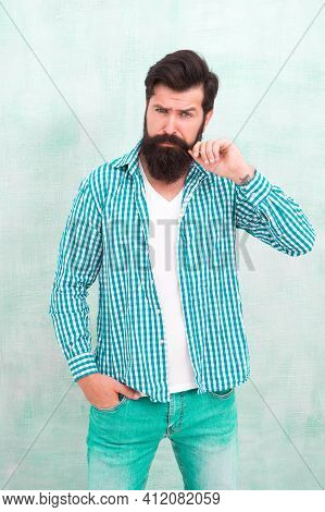 Attractiveness Concept. Masculinity And Male Beauty. Hipster With Beard And Mustache Wear Shirt. Wel
