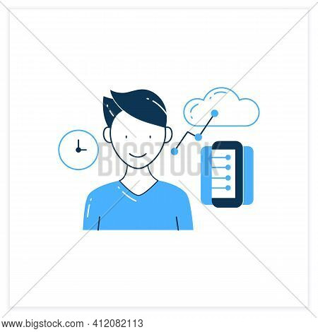 Information Age Flat Icon. Opportunities For Individuals To Process Information Freely And Have Inst