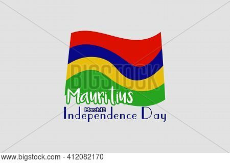 Mauritius Independence Day Greeting Card, Banner, Horizontal Vector Illustration. Holiday 12th Of Ma