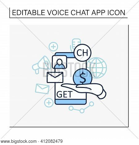 Chat Invite Buy Line Icon. Shares Purchase.communication Application With Friends.invitation Link. I