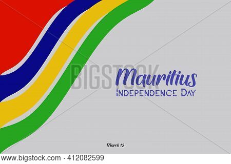 Mauritius independence day vector poster, banner, greeting card. Mauritian wavy flag in 12th of March national patriotic holiday horizontal design. T-shirt designed for youth generation