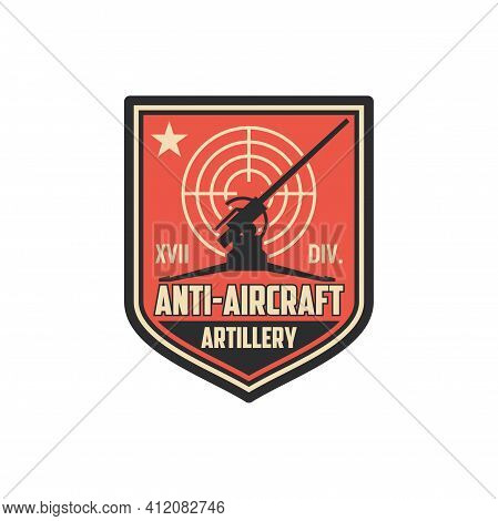 Anti Aircraft Artillery Isolated Military Chevron With Armored Vehicle, Target Aim. Vector Air Defen