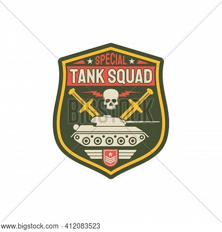 Tank Squad Division Isolated Patch On Uniform. Vector Armored Heavy Machinery, Crossed Swords And Sk