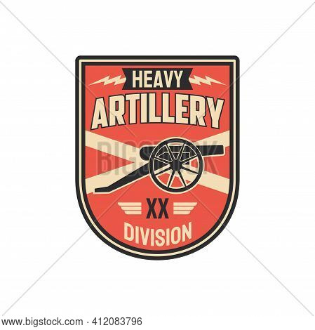 Division Of Heavy Artillery Isolated Chevron With Armored Vehicle. Vector Battalion Of Tank Tracks,