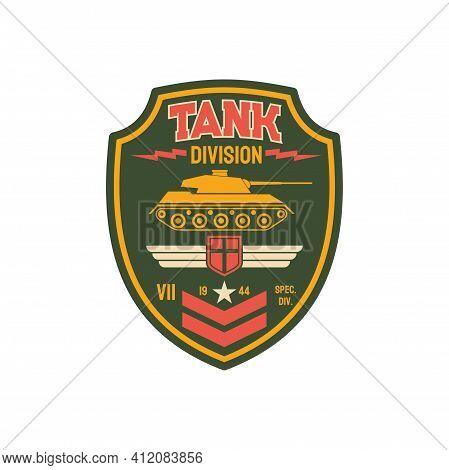Armed Us Infantry Patch On Uniform Tank Division Military Chevron. Vector Patriotic Emblem, Survival