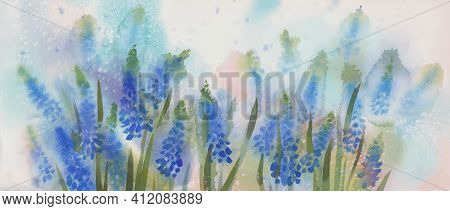 Blue Spring Flowers Watercolor Background. Summer Meadow