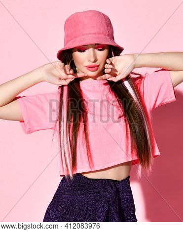 Stylish Sensual Teenager Girl Model Beauty Studio Portrait Isolated On Pink Background. Attractive C