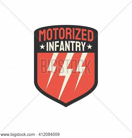 Army Insignia Motorized Infantry Military Chevron With Thunderstorm Signs Isolated. Vector Squad Of