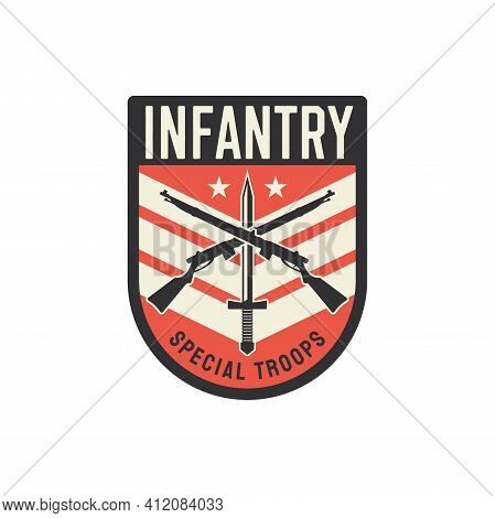 Infantry Special Troops Military Chevron, Squad With Sword And Crossed Rifles Isolated. Vector Milit