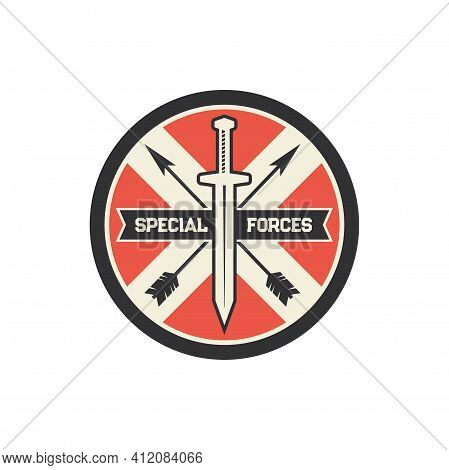 Special Forces Squad Isolated Military Chevron With Crossed Arrows And Sword Icon. Vector Us Army Ma