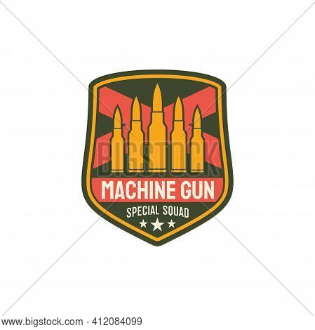 Machine Gun Special Squid With Bullets And Swords Isolated. Vector Us Military Chevron, Special Squi