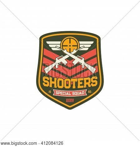 Shooters Special Snipers Squad Military Chevron, Crossed Rifles And Wings, Army Insignia With Weapon