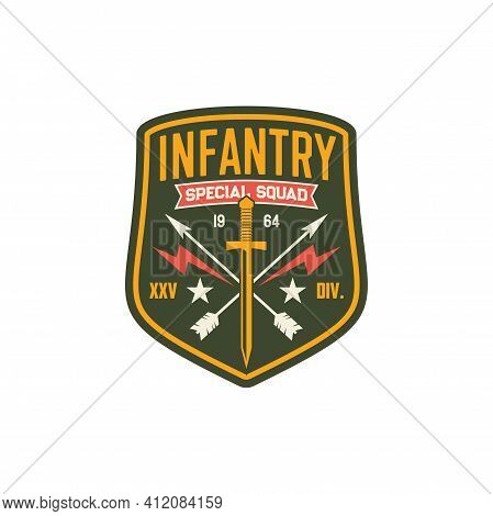 Squad Infantry Troops, Military Chevron With Sword And Crossed Arrows, Thunders Isolated Army Insign
