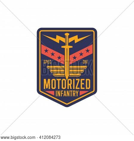 Infantry Chevron, Motorized Army Troops Insignia Military Squid With Thunderstorm, Golden Sword And