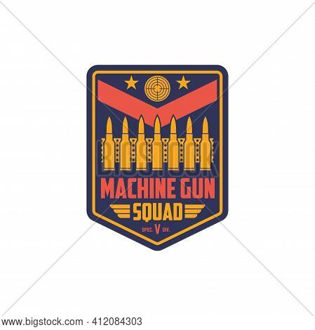 Us Military Chevron, Special Squid Of Machine Guns Isolated Shield Badge. Vector Us Army Patch, Bull
