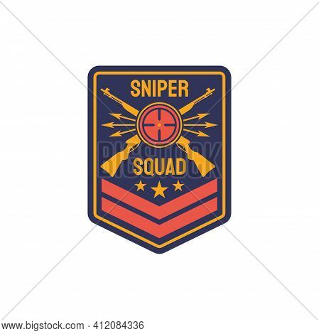 Armored Troops Emblem Isolated Sniper Squid With Crossed Rifles And Aim Target. Vector Special Snipe