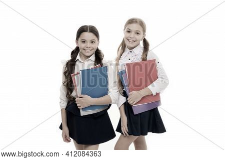 Girls With School Textbooks White Background. We Love Study. Studying Is Fun. Buy Book For Extra Sch