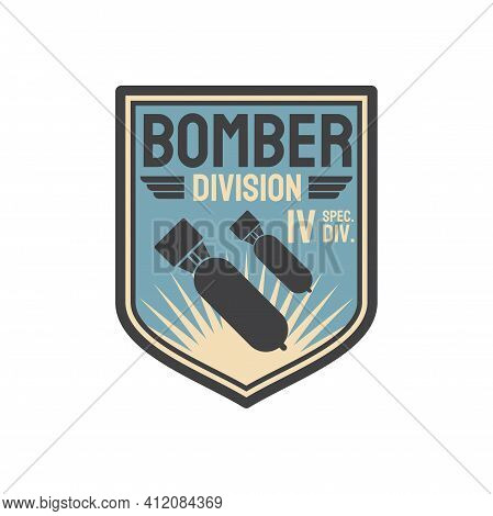 Patch On Officer Uniform Isolated Army Insignia Of Bomber Division. Vector Aviation Bomber Jet Fight