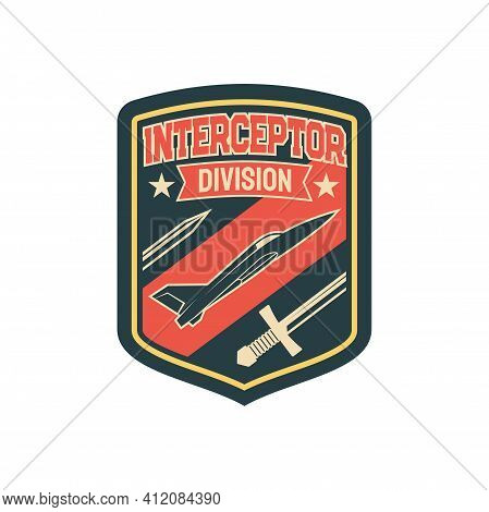 Army Chevron Insignia Of Intercopter Plane Squad With Flying Bombs Isolated Patch On Uniform Of On N