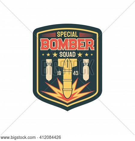 Bomber Division Patch On Uniform With Flying Bombs Isolated Special Bomber Squid. Vector Label On Mi