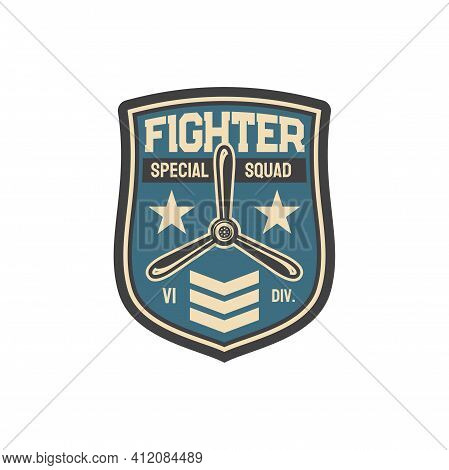 Fighter Plane Army Chevron Aviation Squad With Officer Rank Sign And Jet Propeller. Vector Aviation
