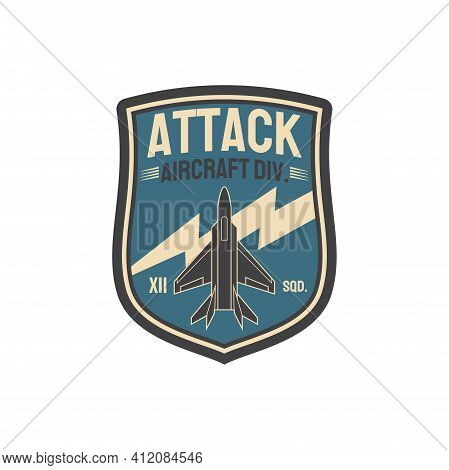 Aviation Squad Army Chevron, Aircraft Division Isolated Insignia Of Airplane Jet Fighter Patch On Mi
