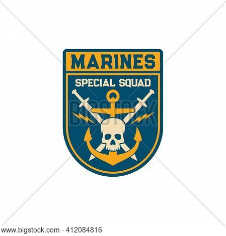 Special Squad Of Maritime Division Special Squad Isolated Army Chevrons With Crossed Swords, Anchor