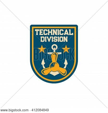 Maritime Technical Division Special Squad Isolated Army Chevron With Anchor And Boat Propeller, Nava