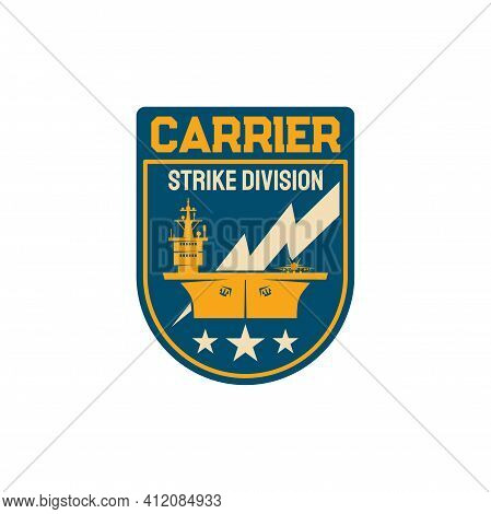 Chevron With Maritime Ship Boat Shipping And Carrying Tactical Weapons Isolated Navy Division Specia