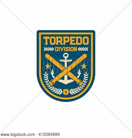 Maritime Forces Patch On Uniform, Torpedo Division Military Chevron Isolated Patch On Uniform. Vecto