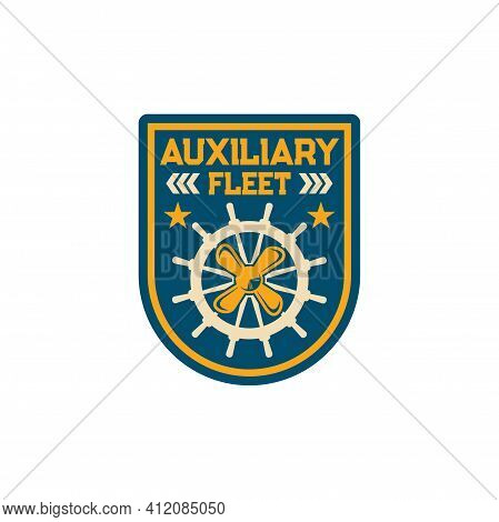 Royal Fleet Auxiliary Naval Fleet Of Uk Ministry Of Defense Isolated Patch On Army Officer Uniform.