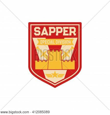 Sapper, Pioneer Combat Engineers Special Division Isolated Chevron. Vector Uniform Patch, Combatant