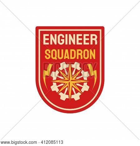 Repair Battalion Engineering Squadron Isolated Patch On Military Uniform. Vector Engineers Division