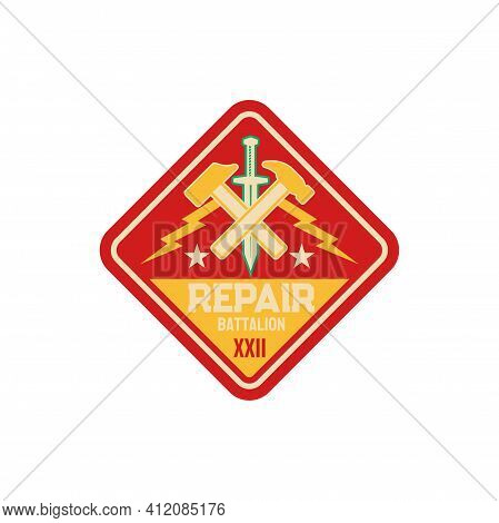 Engineering Squadron Repair Battalion Army Patch With Crossed Hammers And Sword Isolated Patch On Mi