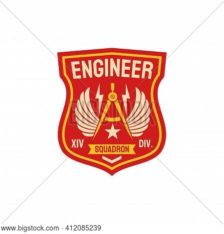 Squadron Of Engineering Repair Battalion Army Patch With Compass Divider And Wings. Vector Patch On