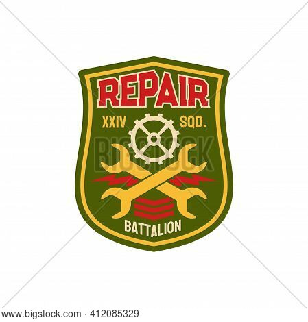 Repair Battalion Engineering Squadron Chevron With Crossed Wrenches And Gear Mechanism. Vector Engin
